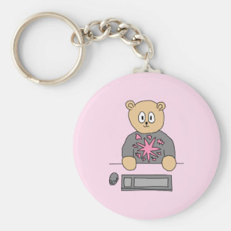 Video Game Player Bear. Key Chains