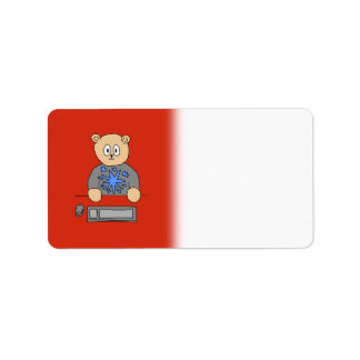 Video Game Player Bear. Label