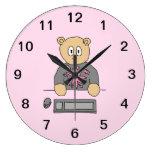 Video Game Player Bear. Round Clocks