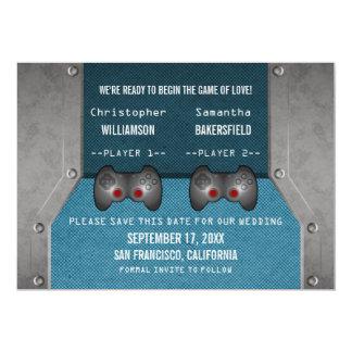 Video Game Save the Date Invite, Blue 5x7 Paper Invitation Card
