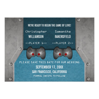Video Game Save the Date Invite Blue