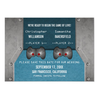 Video Game Save the Date Invite, Blue