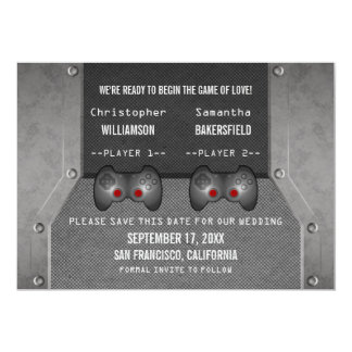 Video Game Save the Date Invite, Gray Card