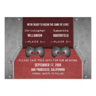 Video Game Save the Date Invite, Maroon 5x7 Paper Invitation Card