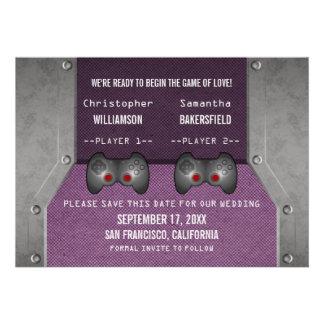 Video Game Save the Date Invite, Purple