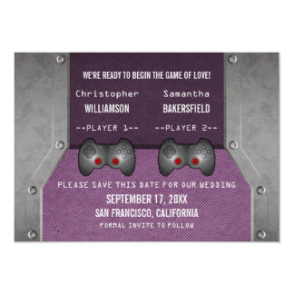 Video Game Save the Date Invite, Purple Card