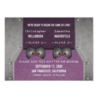 """Video Game Save the Date Invite, Purple 5"""" X 7"""" Invitation Card"""