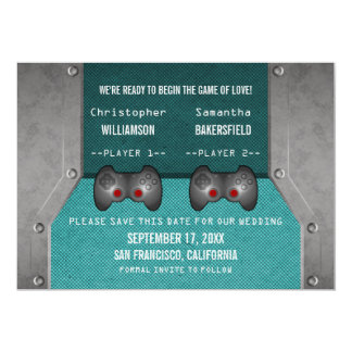 Video Game Save the Date Invite, Teal 5x7 Paper Invitation Card