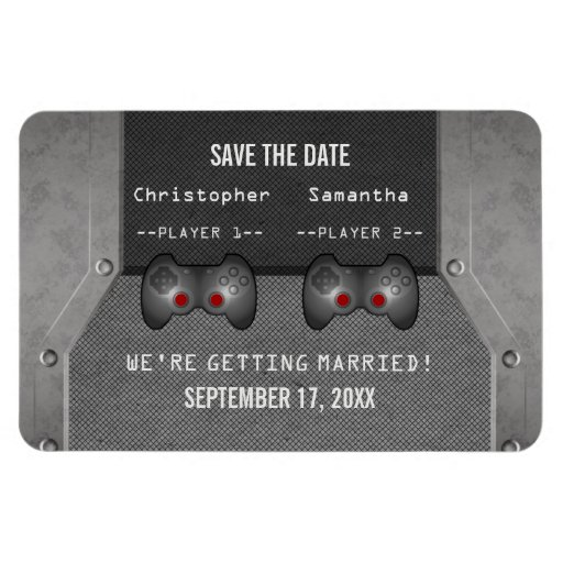 Video Game Save the Date Magnet, Gray