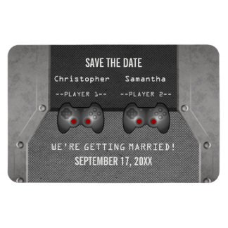 Video Game Save the Date Magnet, Gray Rectangular Photo Magnet