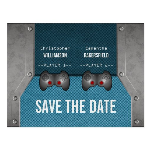 Video Game Save the Date Postcard, Blue