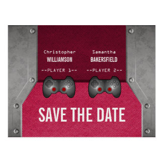 Video Game Save the Date Postcard, Pink