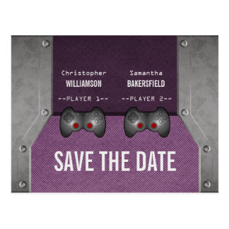 Video Game Save the Date Postcard, Purple