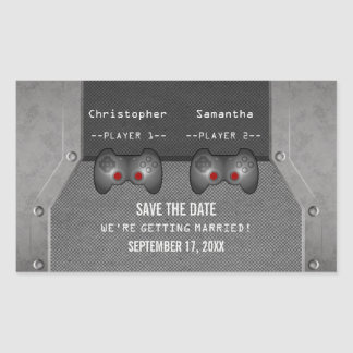 Video Game Save the Date Stickers, Gray Rectangular Sticker