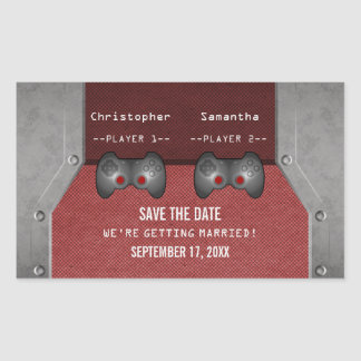 Video Game Save the Date Stickers, Maroon Rectangular Sticker
