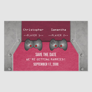 Video Game Save the Date Stickers, Pink Rectangular Sticker