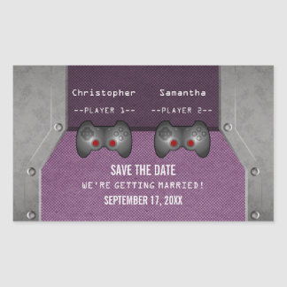 Video Game Save the Date Stickers, Purple