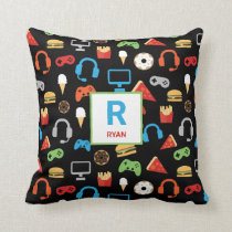 Video Game Snacks Party Kids Gamer Personalized Throw Pillow