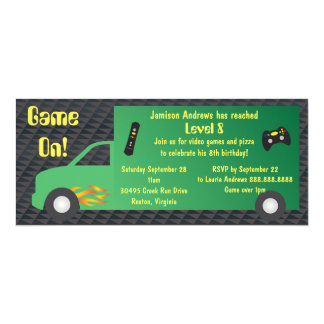 Video Game Truck Birthday Party 4x9.25 Paper Invitation Card