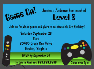 Video game party invitations zazzle video game truck birthday party invitations filmwisefo