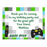 Video Game Truck Birthday Party Thank You Postcard at Zazzle