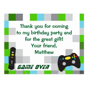 daisyprint Video Game Truck Birthday Party Thank You Postcard