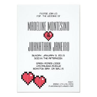 Video Game Wedding Invitation RED PIXELS