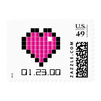Video Game Wedding Postage PINK PIXELS