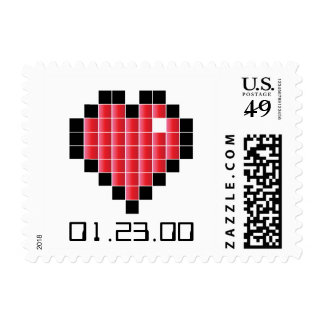 Video Game Wedding Postage RED PIXELS