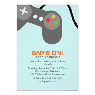 Video Games Birthday Party 5x7 Paper Invitation Card