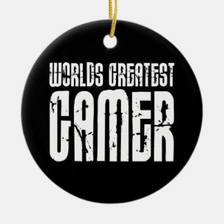 Video Games Gaming & Gamers Worlds Greatest Gamer Double-Sided Ceramic Round Christmas Ornament
