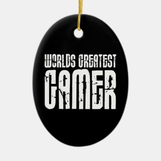Video Games Gaming & Gamers Worlds Greatest Gamer Double-Sided Oval Ceramic Christmas Ornament