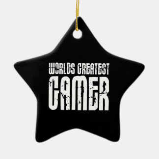 Video Games Gaming & Gamers Worlds Greatest Gamer Double-Sided Star Ceramic Christmas Ornament