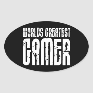 Video Games Gaming & Gamers Worlds Greatest Gamer Oval Sticker