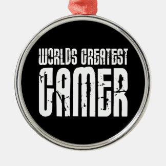 Video Games Gaming & Gamers Worlds Greatest Gamer Round Metal Christmas Ornament