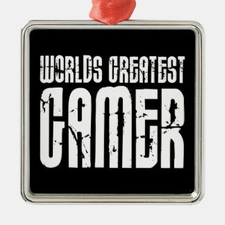 Video Games Gaming & Gamers Worlds Greatest Gamer Square Metal Christmas Ornament