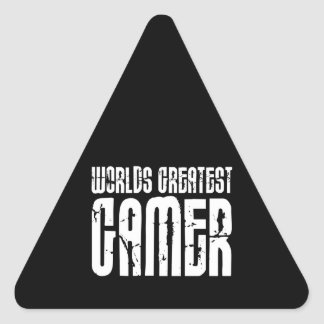 Video Games Gaming & Gamers Worlds Greatest Gamer Triangle Sticker