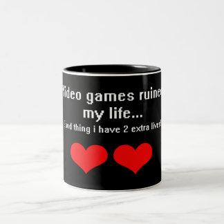 Video Games ruined my life... Two-Tone Coffee Mug