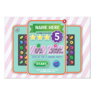 Video Gaming Party Game Pink Girl's Candy Invite