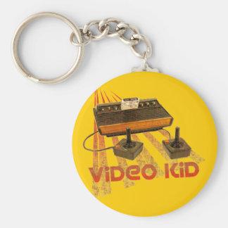 Video Kid Retro Basic Round Button Keychain
