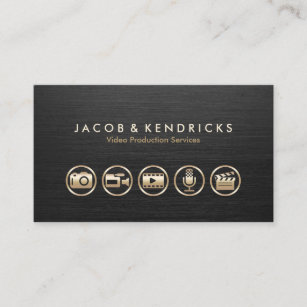 Video production business cards templates zazzle video production services gold icons black metal business card reheart Images