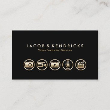 Video Production Services Gold Icons Business Card