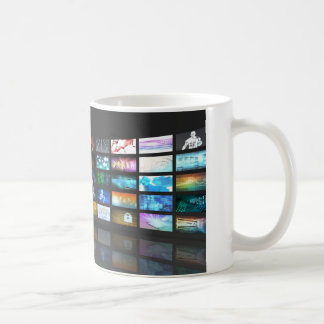 Video Streaming as Technology Concept with Lady Coffee Mug