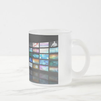 Video Streaming as Technology Concept with Lady Frosted Glass Coffee Mug