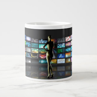Video Streaming as Technology Concept with Lady Giant Coffee Mug