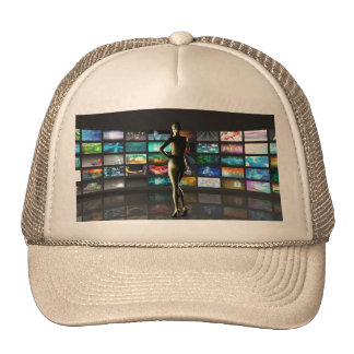 Video Streaming as Technology Concept with Lady Trucker Hat
