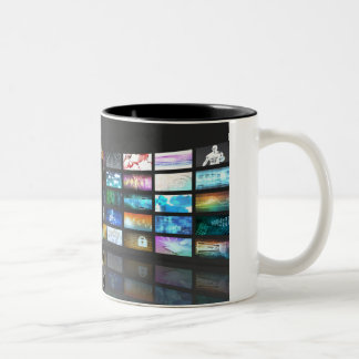Video Streaming as Technology Concept with Lady Two-Tone Coffee Mug