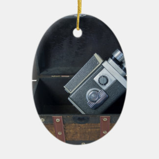 VideoCameraTravelingTrunk052414.png Double-Sided Oval Ceramic Christmas Ornament