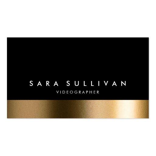 Videographer bold black gold business card zazzle for Videographer business cards