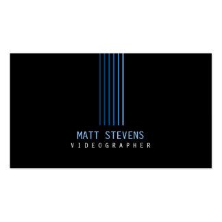 Videographer Business Card Blue Beams
